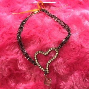 Rhinestone Heart Bracelet